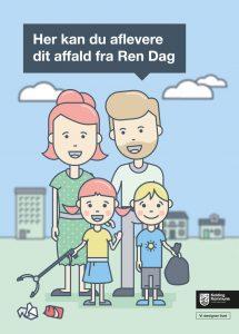 Kolding Kommune afholder Ren Dag. Plakaten visser Palle og Ida samt deres nytegnede unger.