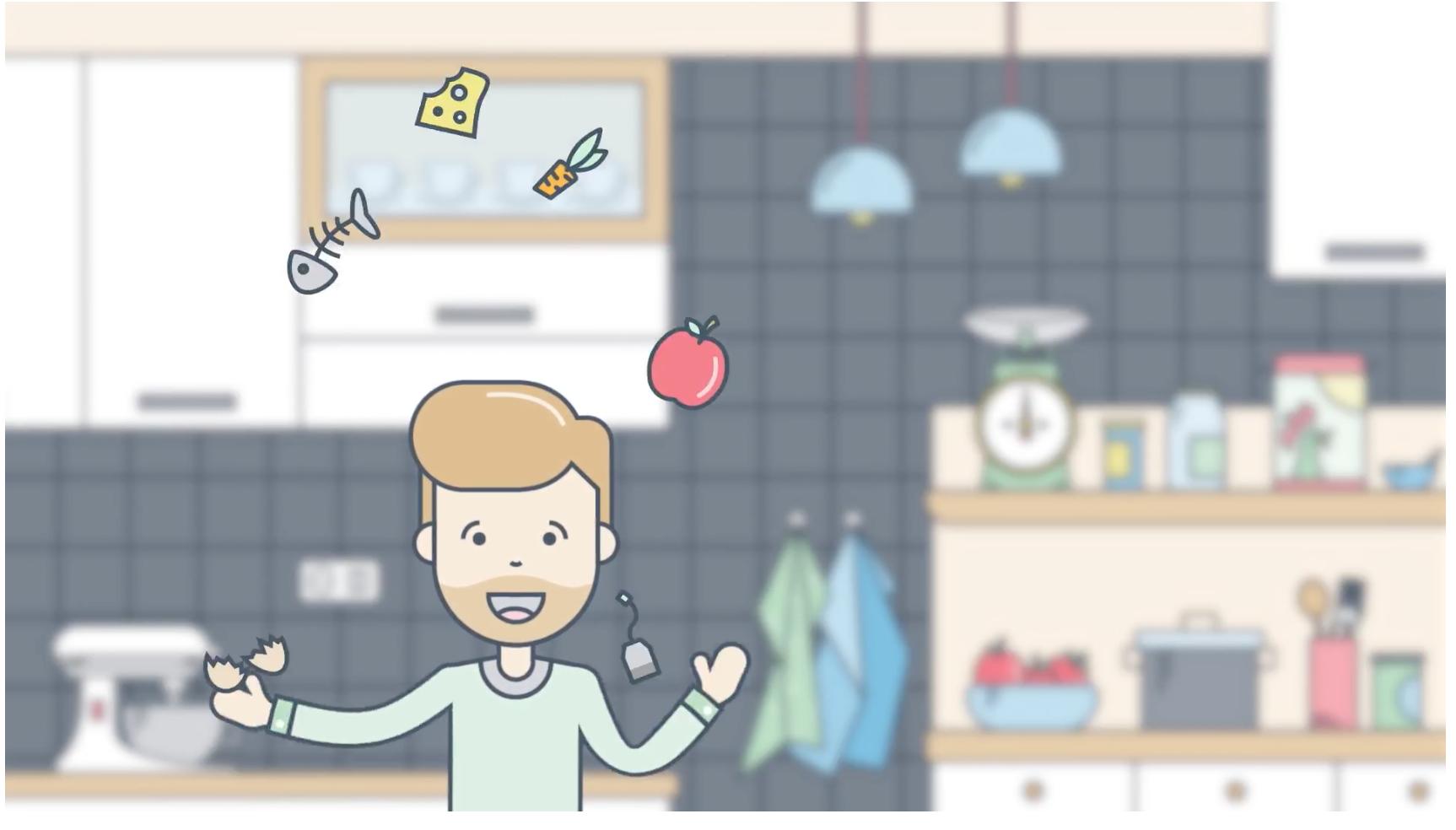 Palle jonglerer med madaffald i denne animationsfilm.